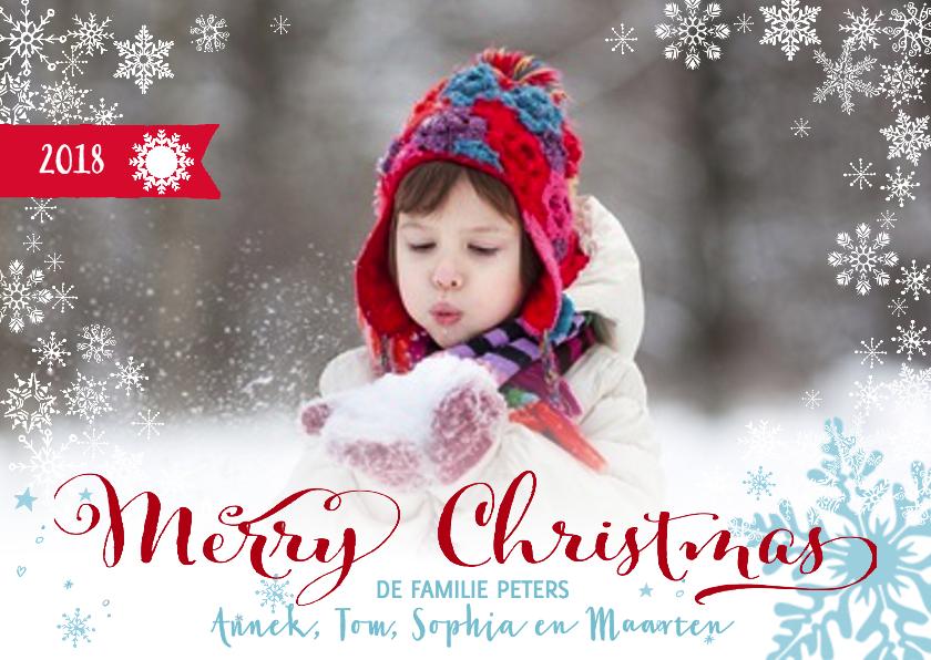 Kerstkaarten - Merry Christmas Letters Sneeuw
