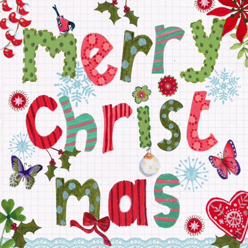 Kerstkaarten - Merry Christmas LETTERS Vrolijk Kerst