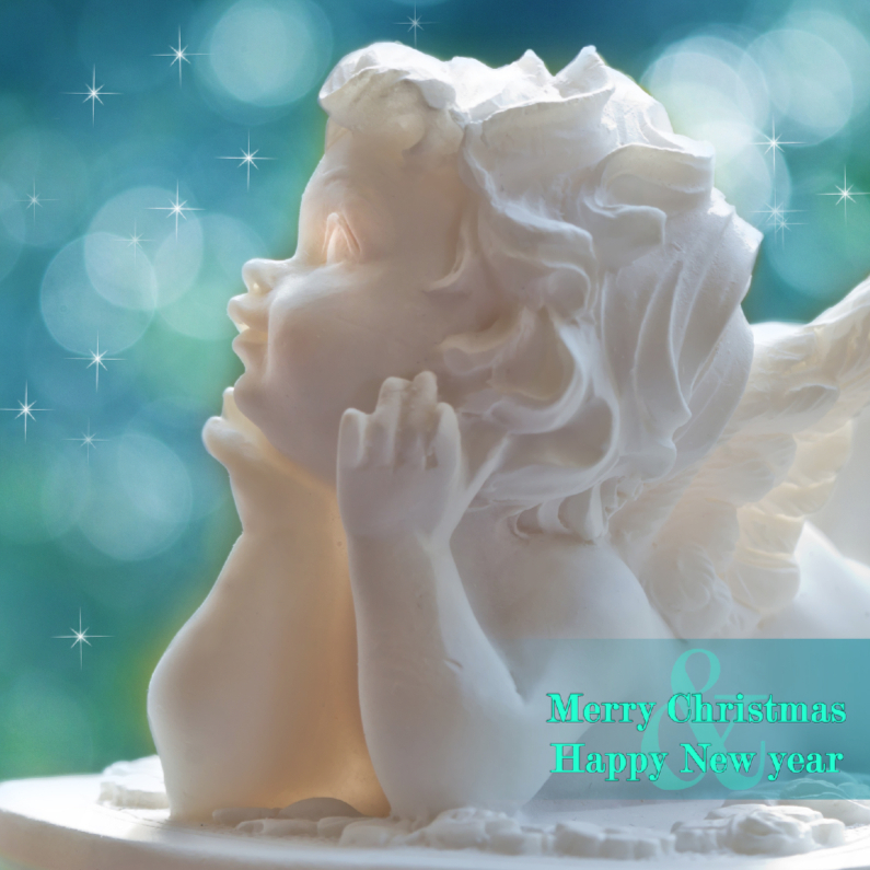 Kerstkaarten - Merry Christmas met engel