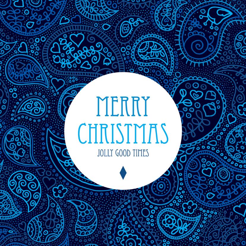 Kerstkaarten - Merry christmas paisley blauw