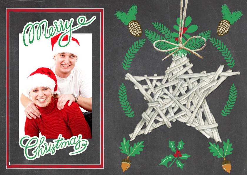 Kerstkaarten - Merry christmas ster hout