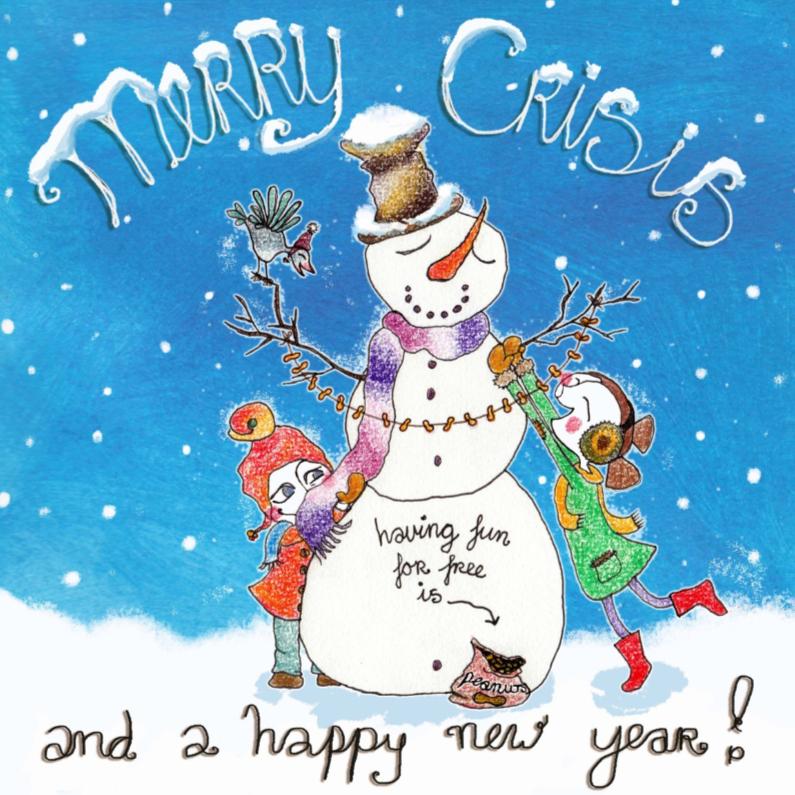 Kerstkaarten - Merry crisis- kinderen-sneeuwpop