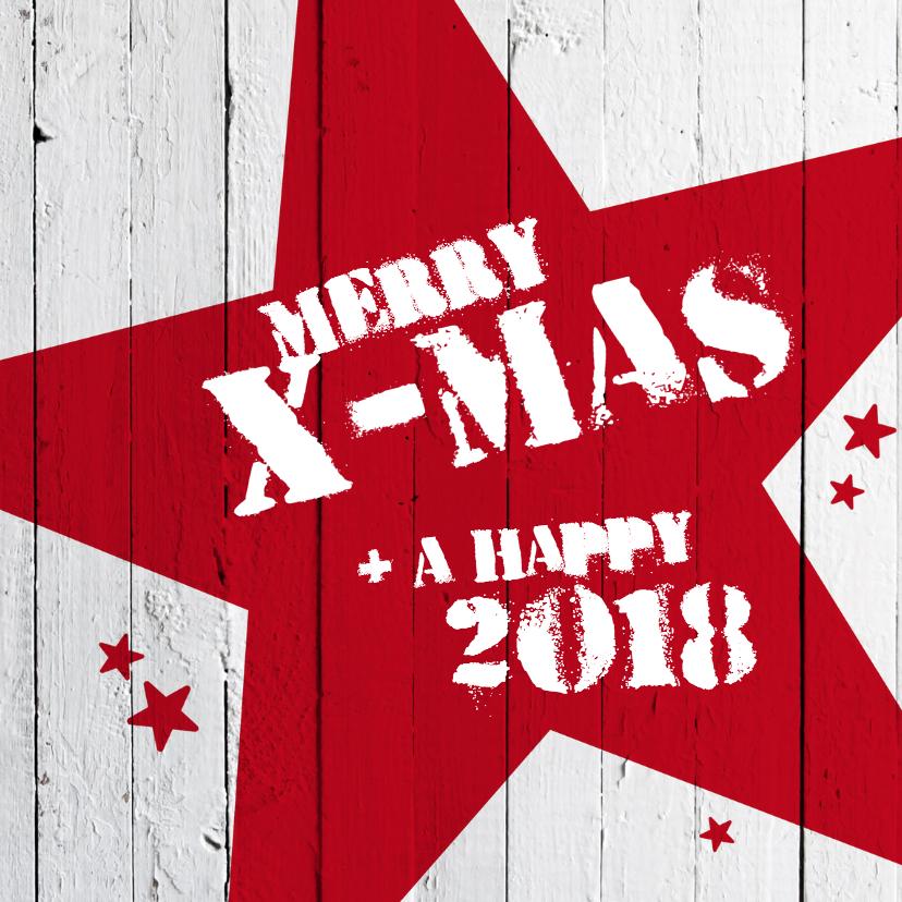 Kerstkaarten - Merry X-mas-rode ster