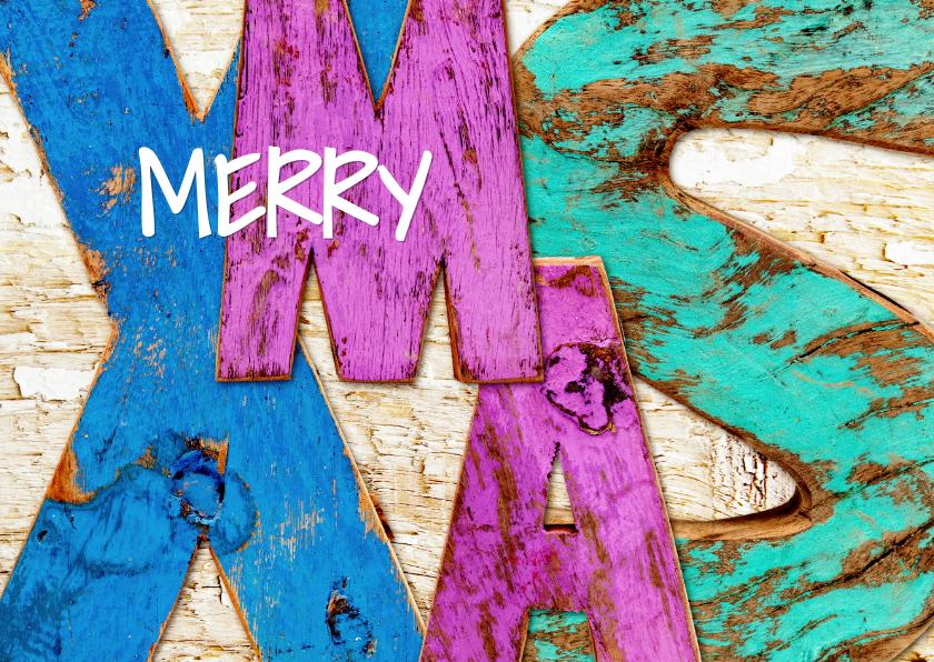 Kerstkaarten - Merry X-MAS stoere letters - OT