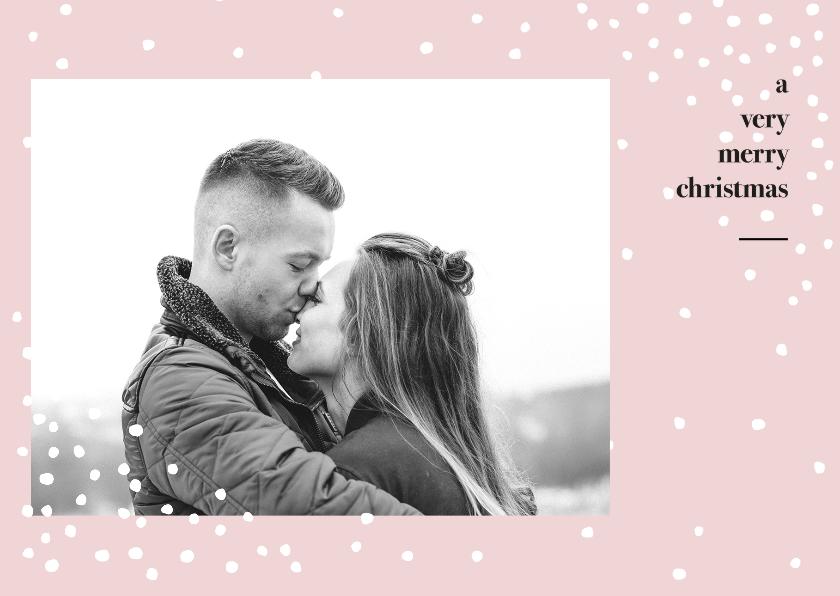 Kerstkaarten - Minimalistische foto kerstkaart met sneeuw en tekst