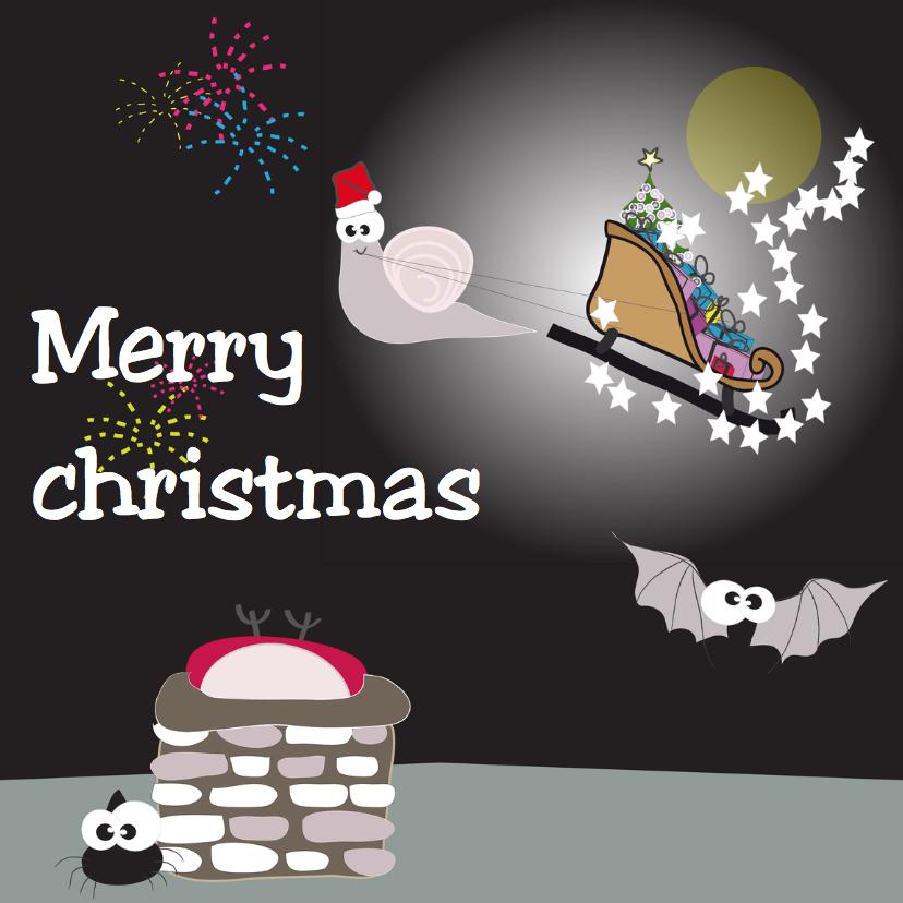 Kerstkaarten - Mo Card figuurtjes op dak