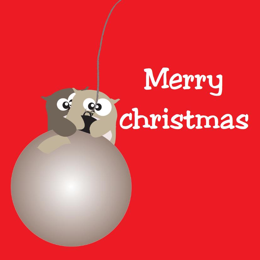 Kerstkaarten - Mo Card Kerst uiltjes aan kerstbal