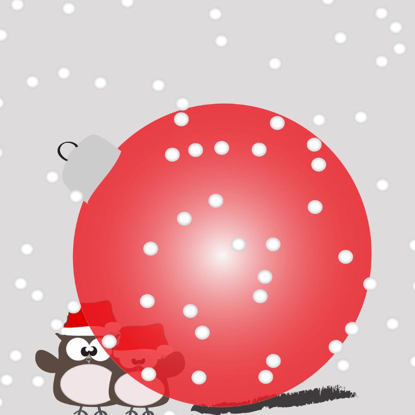 Kerstkaarten - Mo Card Kerst uiltjes achter rode bal