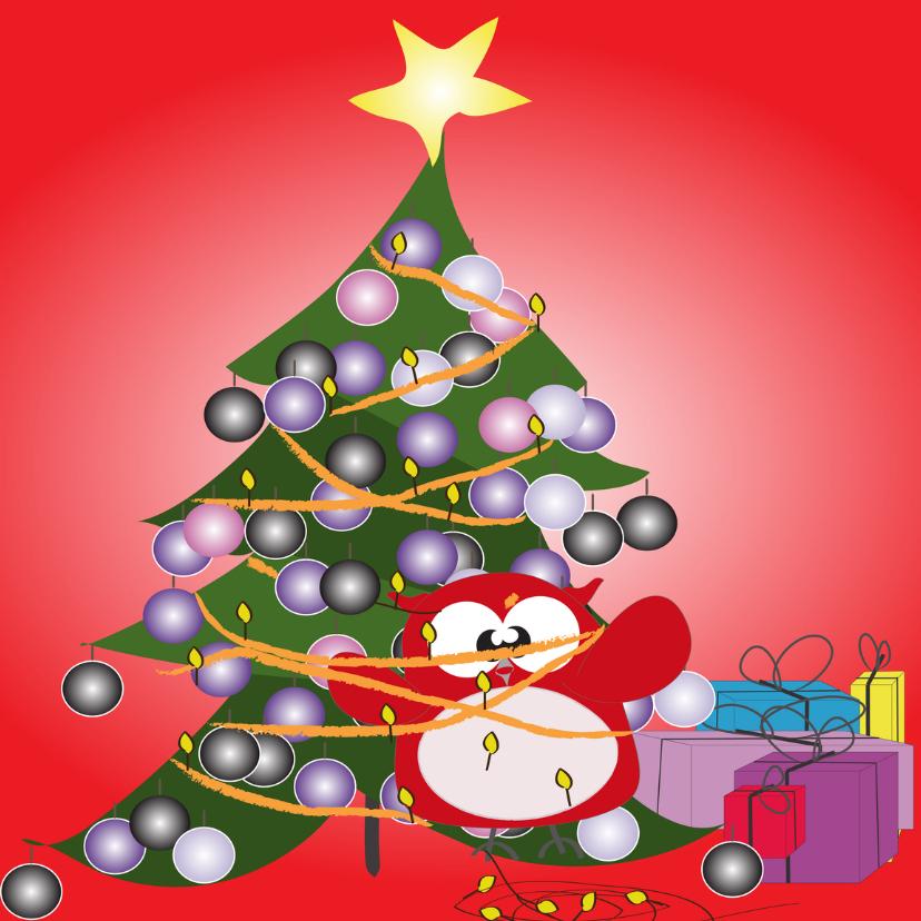 Kerstkaarten - Mo Card uil vast aan kerstboom rood