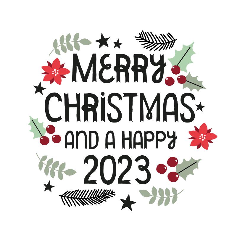Kerstkaarten - Modern kerstkaart merry christmas & hulst blaadjes