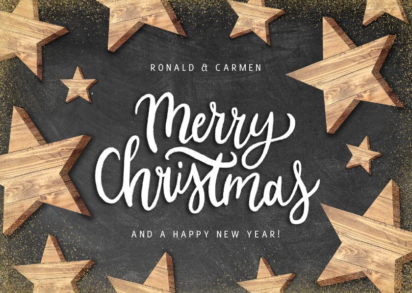 Kerstkaarten - Moderne kerstkaart houten sterren en Merry Christmas