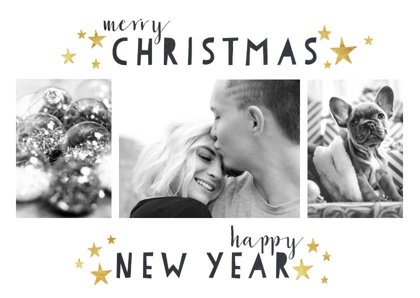 Kerstkaarten - Moderne kerstkaart met foto's, typografie en gouden sterren