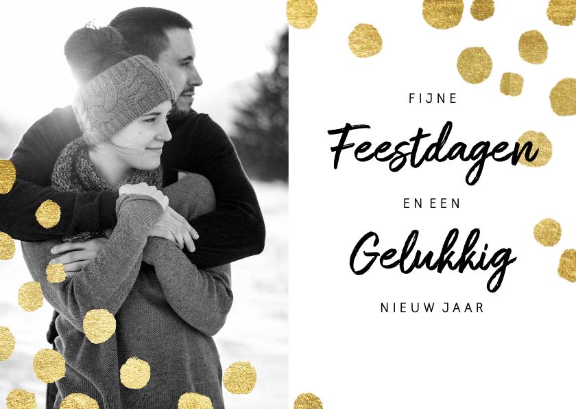 Kerstkaarten - Moderne kerstkaart met goudlook confetti en foto