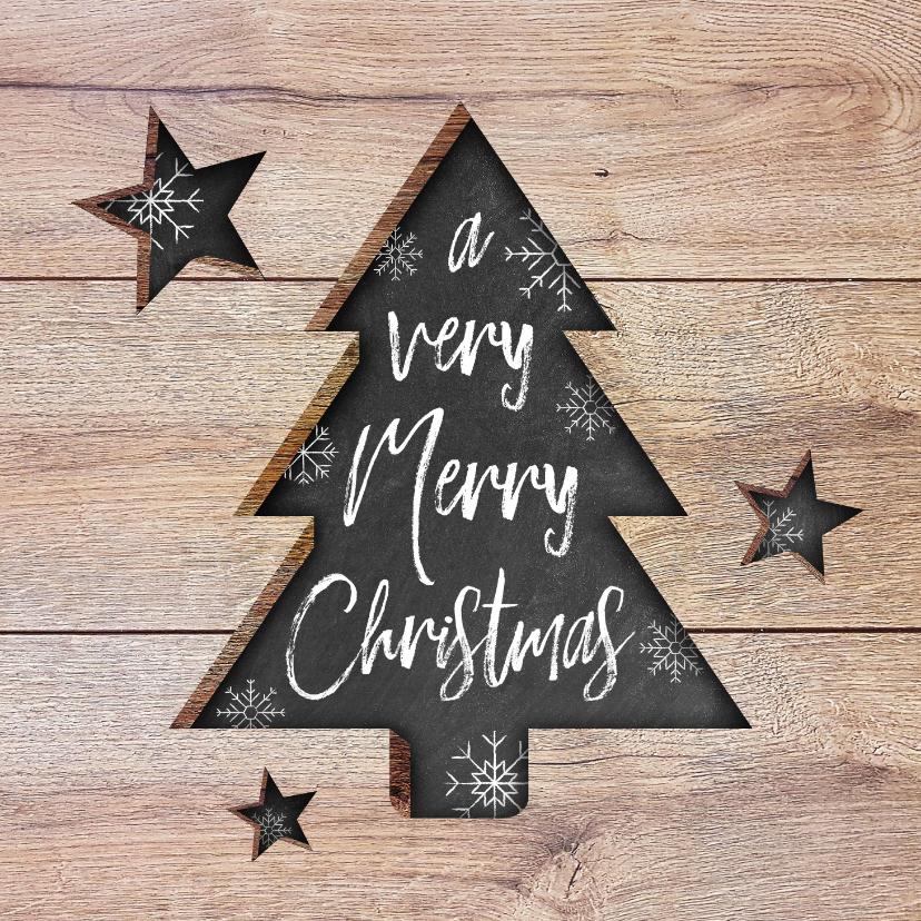 Kerstkaarten - Moderne kerstkaart met hout, uitgesneden kerstboom en tekst
