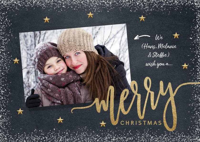 Kerstkaarten - Mooie foto kerstkaart sneeuw krijtbord