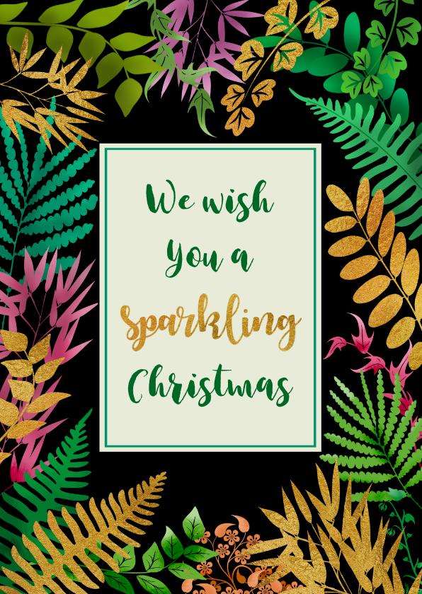 Kerstkaarten - Mooie kerstkaart met blaadjes en gouden accenten