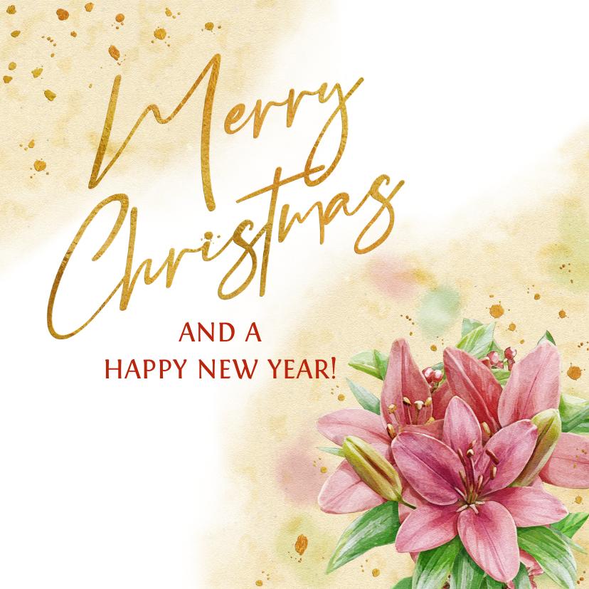 Kerstkaarten - Mooie kerstkaart met lelies en rhododendron