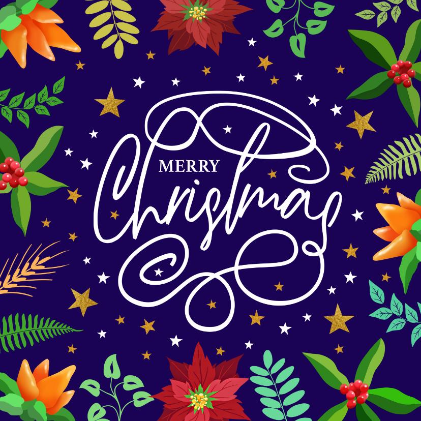 Kerstkaarten - Mooie kerstkaart met tekst krullen sterren en kersttakjes