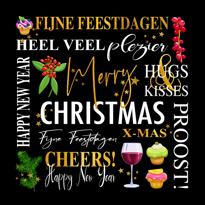 Kerstkaarten - Mooie kerstkaart met teksten. takjes, gebak en wijn
