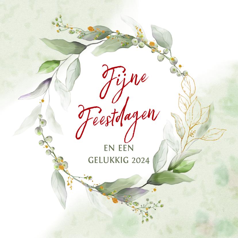 Kerstkaarten - Mooie klassieke kerstkaart met cirkel van blaadjes