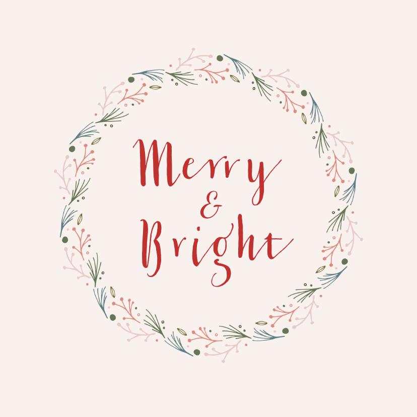 Kerstkaarten - Mooie stijlvolle kerstkaart met krans