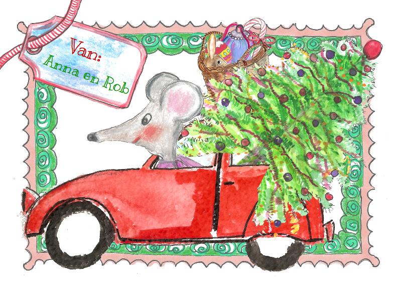 Kerstkaarten - muis en kerstboom in een 2cv