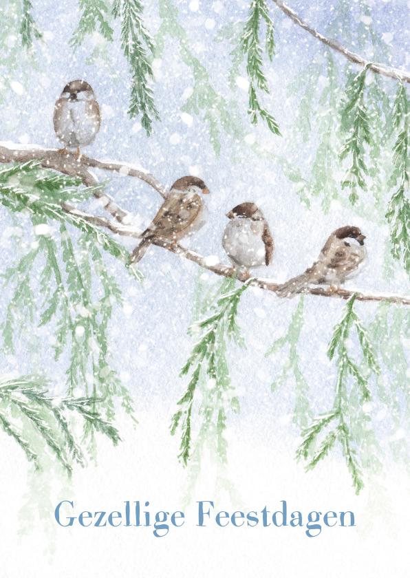 Kerstkaarten - Musjes kwebbelend in de sneeuw