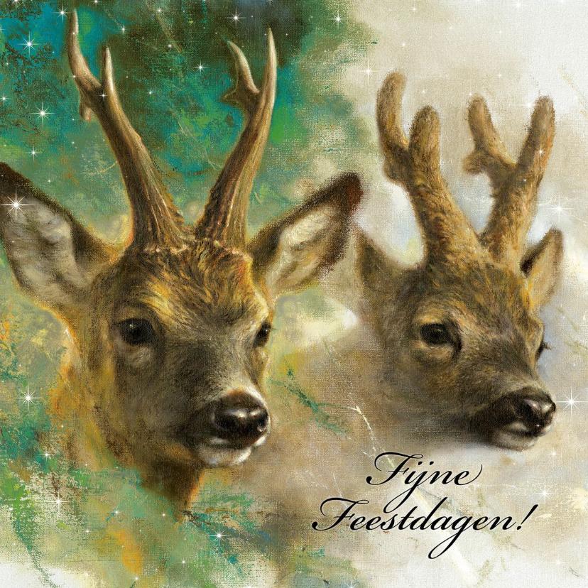 Kerstkaarten - Natuurkerstkaart met portret van twee reebokken