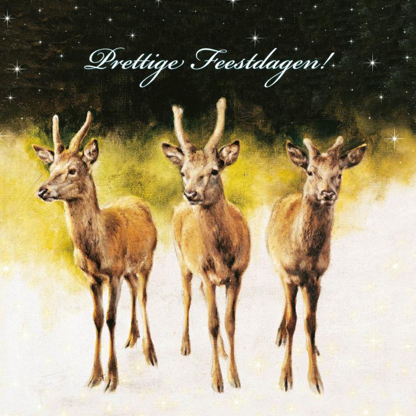 Kerstkaarten - Natuurkerstkaart met wintertafereel '3 reebokken'