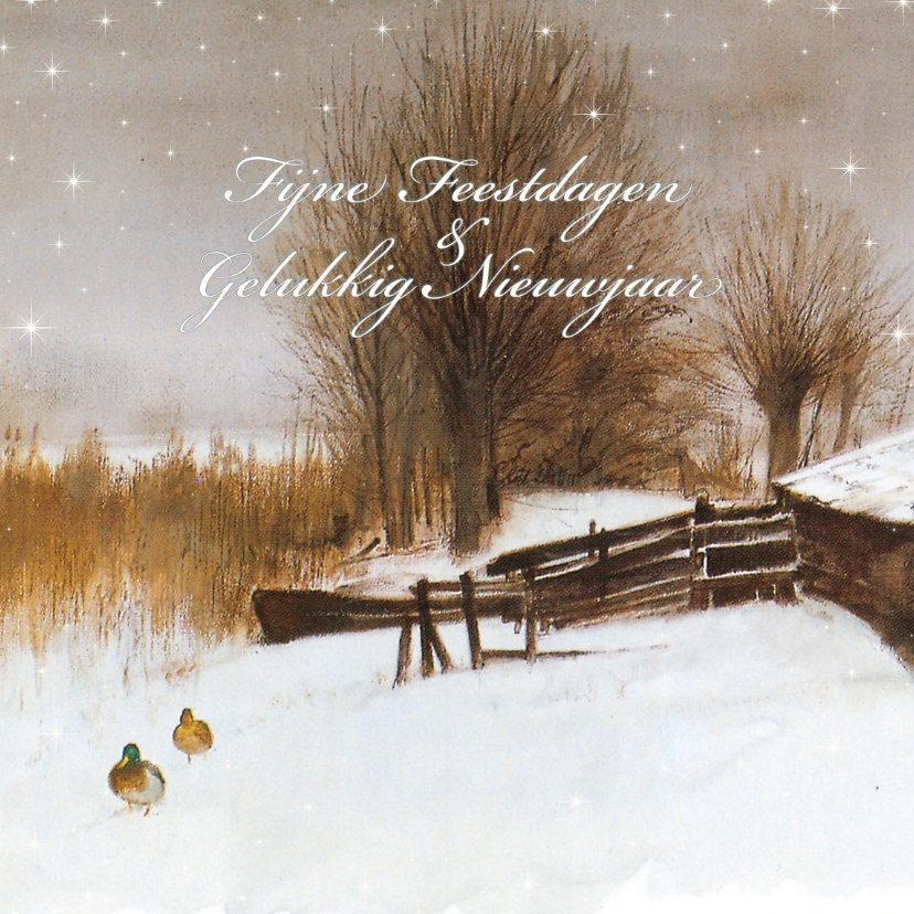 Kerstkaarten - Natuurkerstkaart met wintertafereel 'Eenden in de sneeuw'