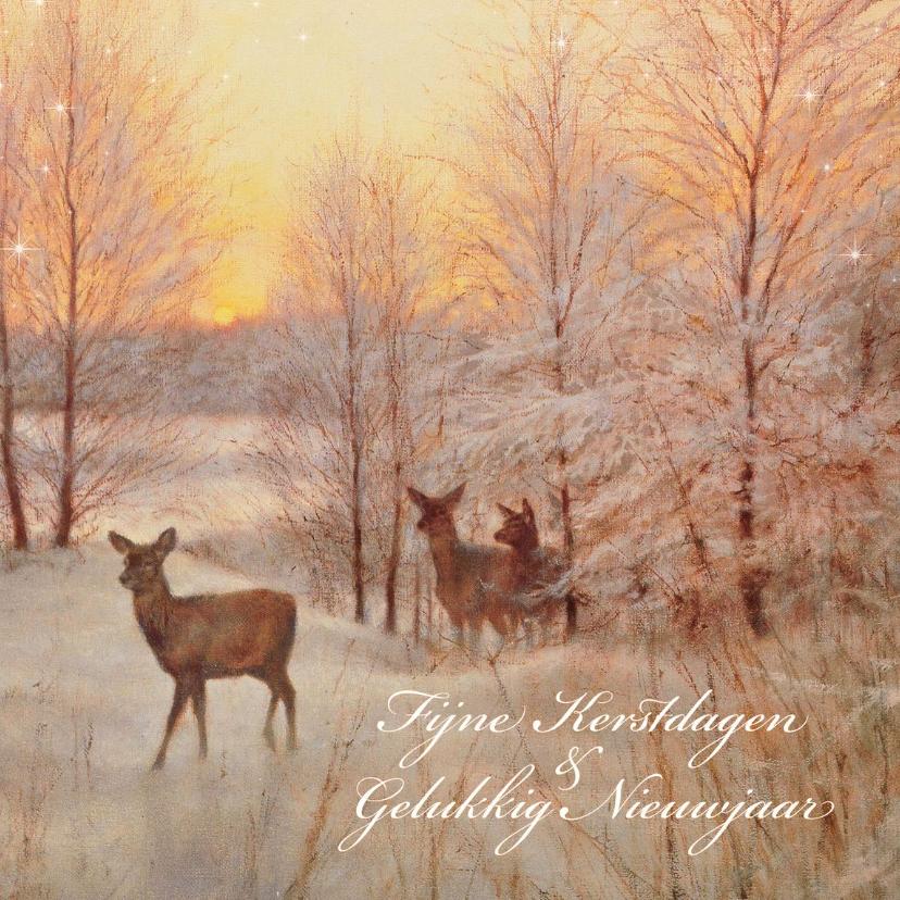 Kerstkaarten - Natuurkerstkaart met wintertafereel 'Hert Zonsondergang'