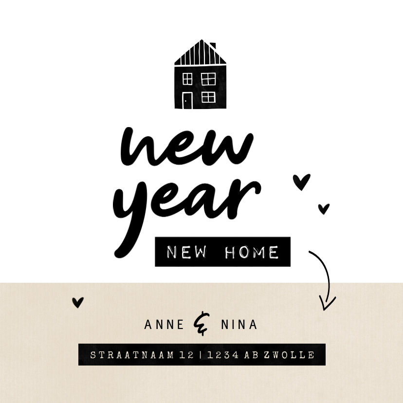 Kerstkaarten - New year new home huisje kraft met hartjes