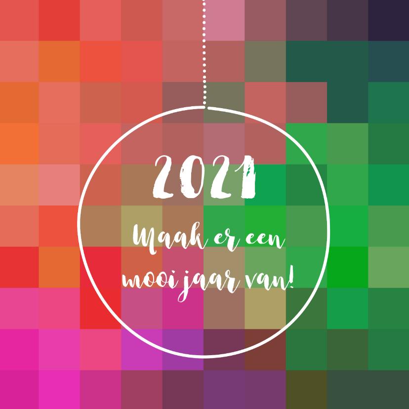 Kerstkaarten - Nieuwjaar kleurig eigen tekst
