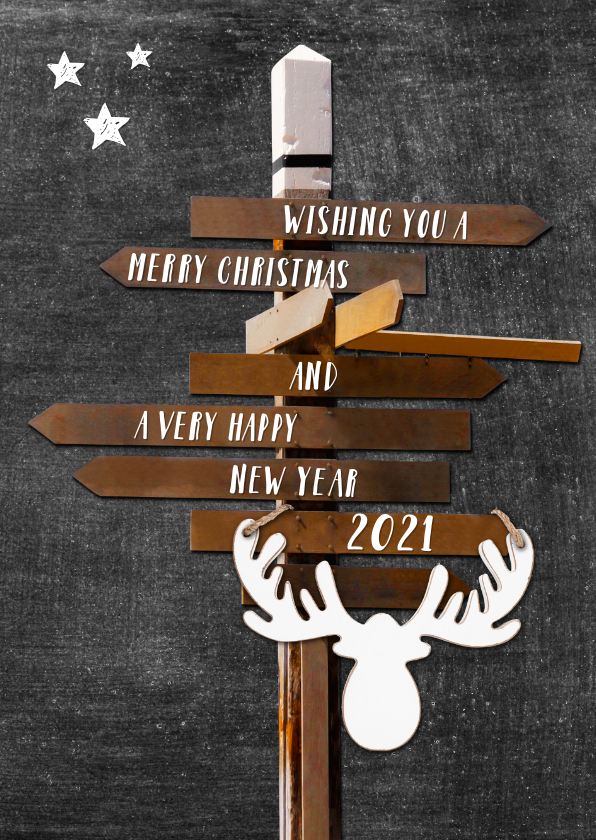 Kerstkaarten - Nieuwjaarskaart Hippe Wegwijzer krijtbord