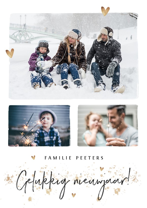 Kerstkaarten - Nieuwjaarskaart met fotocollage en goudlook hartjes
