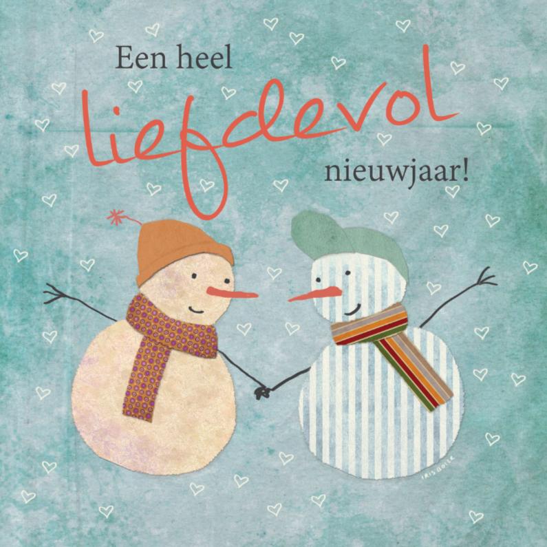 Kerstkaarten - Nieuwjaarskaart sneeuwpop