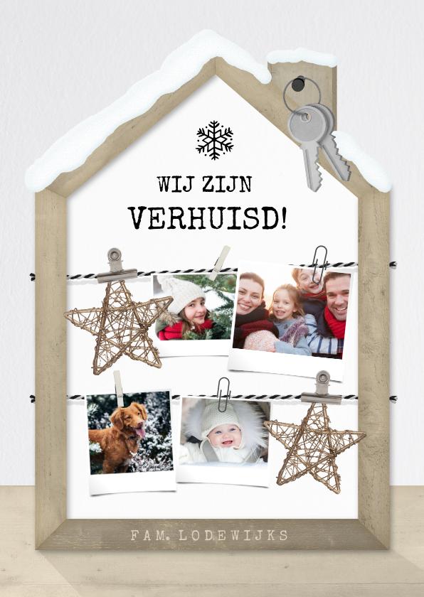 Kerstkaarten - Originele kerst verhuiskaart met houten huisje fotocollage