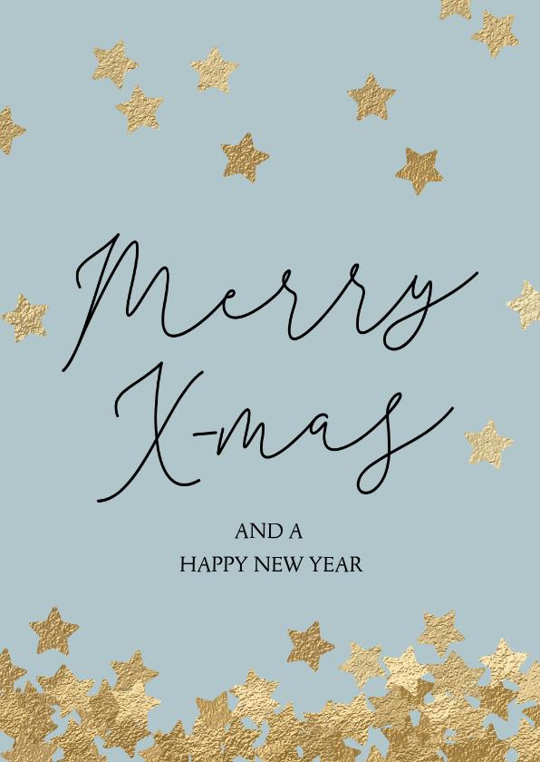 Kerstkaarten - Originele kerstkaart Merry X-mas sterren goud
