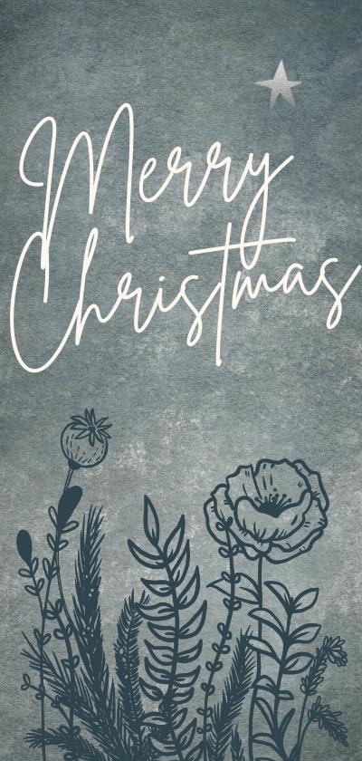 Kerstkaarten - Originele kerstkaart met wilde bloemen en sparrentakken