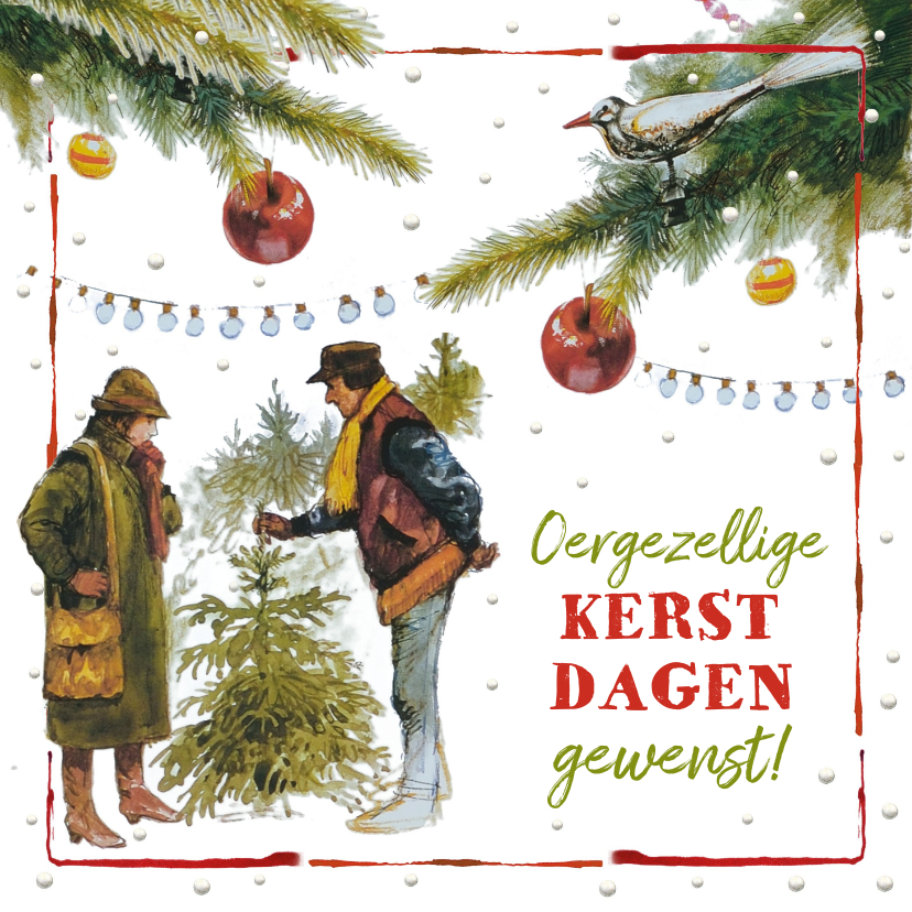 Kerstkaarten - Ouderwetse kerstboom markt oergezellig