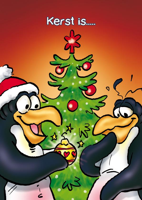 Kerstkaarten - Penguins kerstkaart etentje