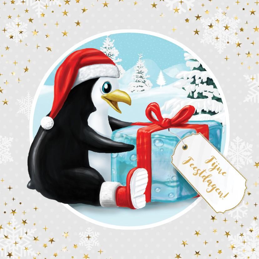 Kerstkaarten - Pinguïn met kerstmuts en ijsblokje