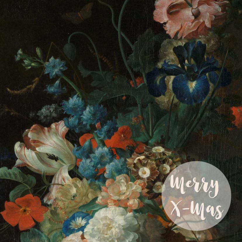 Kerstkaarten - Prachtige kerstkaart met bloemenschilderij