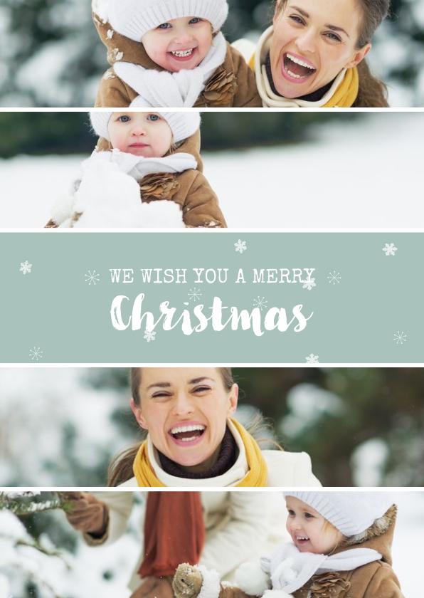 Kerstkaarten - Rechthoekige kerstkaart met fotocollage en sneeuwvlokjes