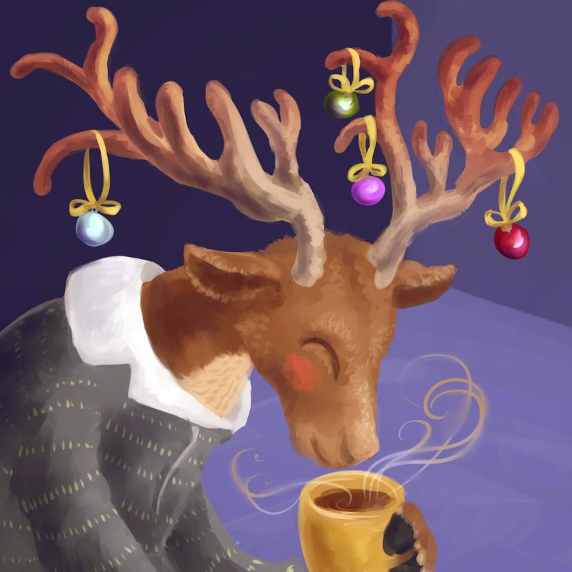 Kerstkaarten - Rendier geniet van warme chocolademelk