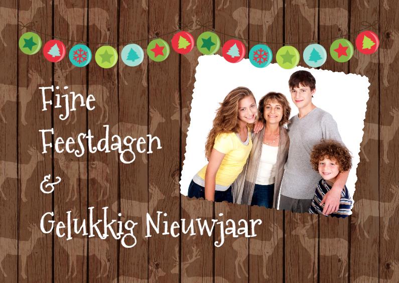 Kerstkaarten - Rendier houten achtergrond