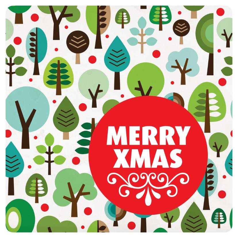 Kerstkaarten - Retro kerstboom patroon stip kerstkaart