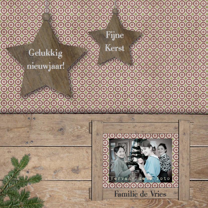 Kerstkaarten - Retro kerstkaart met ster en eigen foto