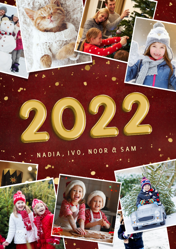 Kerstkaarten - Rode fotocollage kerstkaart met jaartal 2022 stijlvol