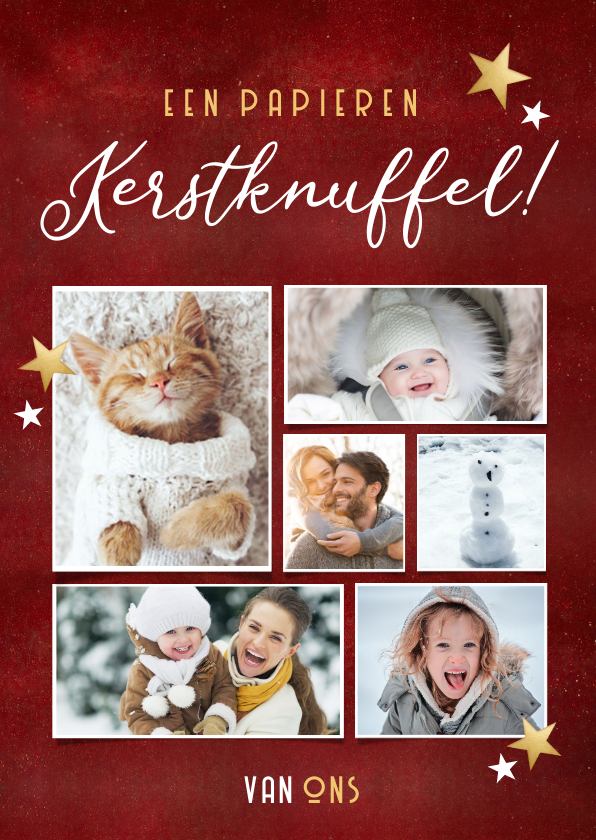 Kerstkaarten - Rode fotocollage kerstkaart - papieren kerstknuffel van ons